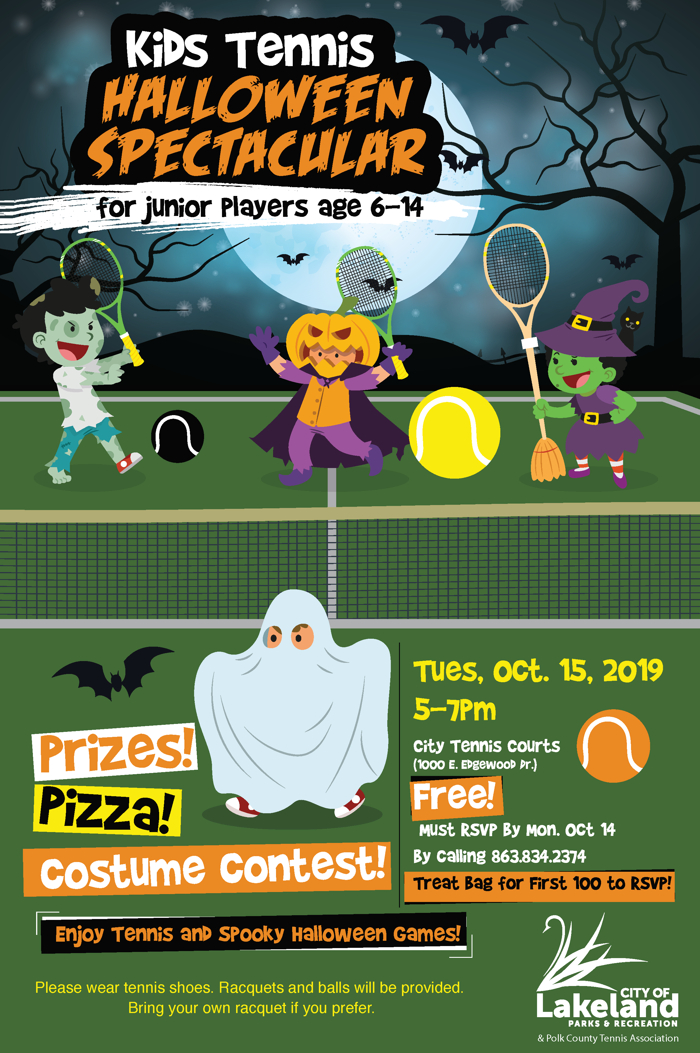 Kids Tennis Halloween Spectacular 2019 - October 15 5-7 pm - RSVP by October 14 - Beerman Family Tennis Center