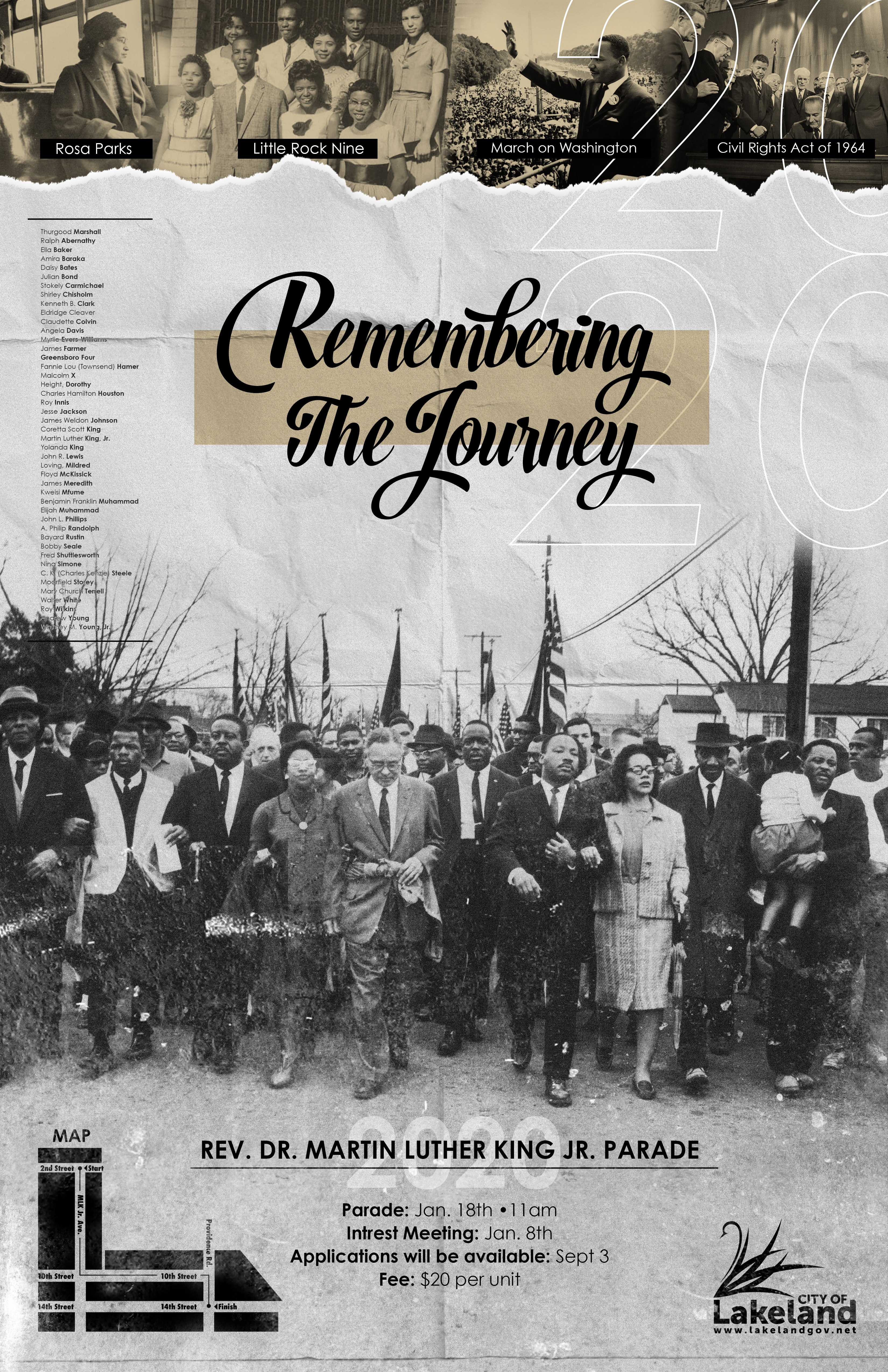 2020 MLK Parade Poster - Remembering the Journey - with Martin Luther King Jr and Civil Rights Activists