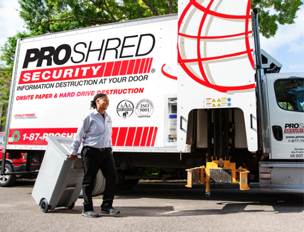 ProShred truck and employee recycling paper