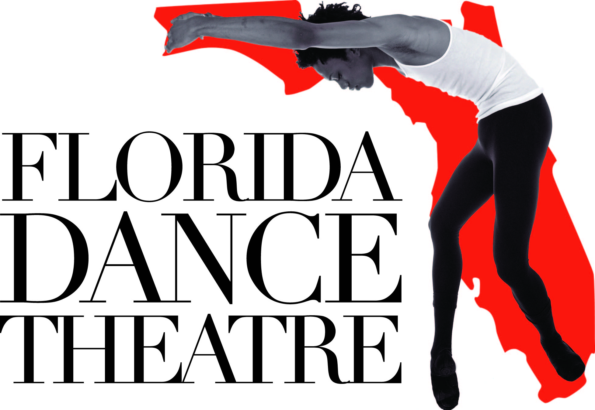 Florida Dance Theatre Logo - Dancer standing in front of/in the shape of the state of Florida