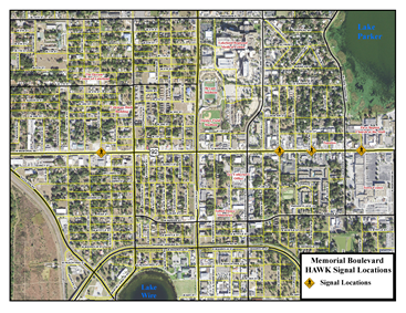 Aerial map view of locations of HAWK signals along Memorial Boulevard