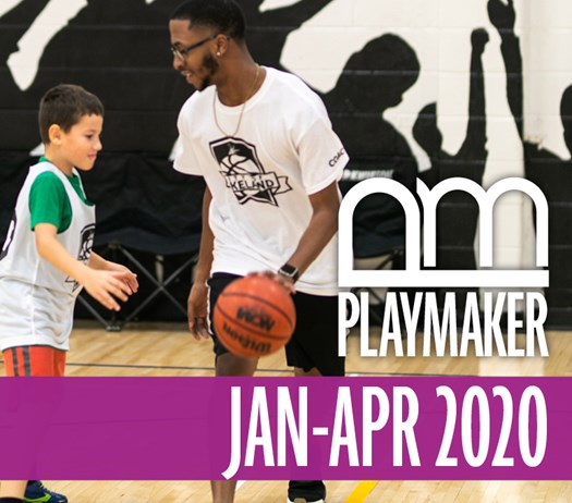 Cover of the January through April 2020 Playmaker, the Parks & Recreation Program Brochure. Adult man coaching a boy in basketball in the gymnasium at Kelly Rec