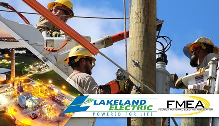 Lakeland Electric FMEA Award - 3 lineman working on a line