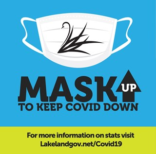 Mask Up to Keep COVID Down Graphic with Lakeland Swan
