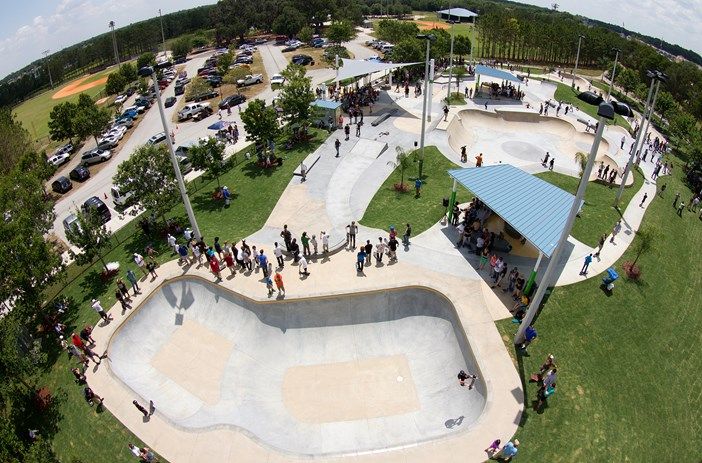 A photo of the skate park