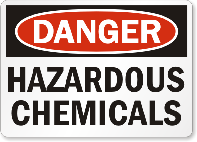 A photo of hazardous chemicals signage