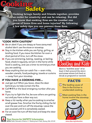 A picture of Cooking Safety (Document under ADA review)