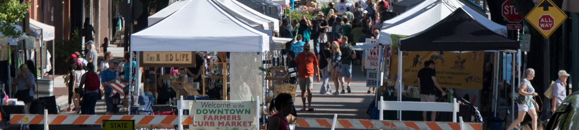 bustling Downtown Lakeland Farmers Market on a Saturday