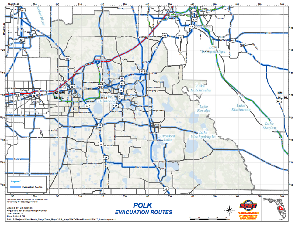 Polk County Evacuation Route Map (PDF)