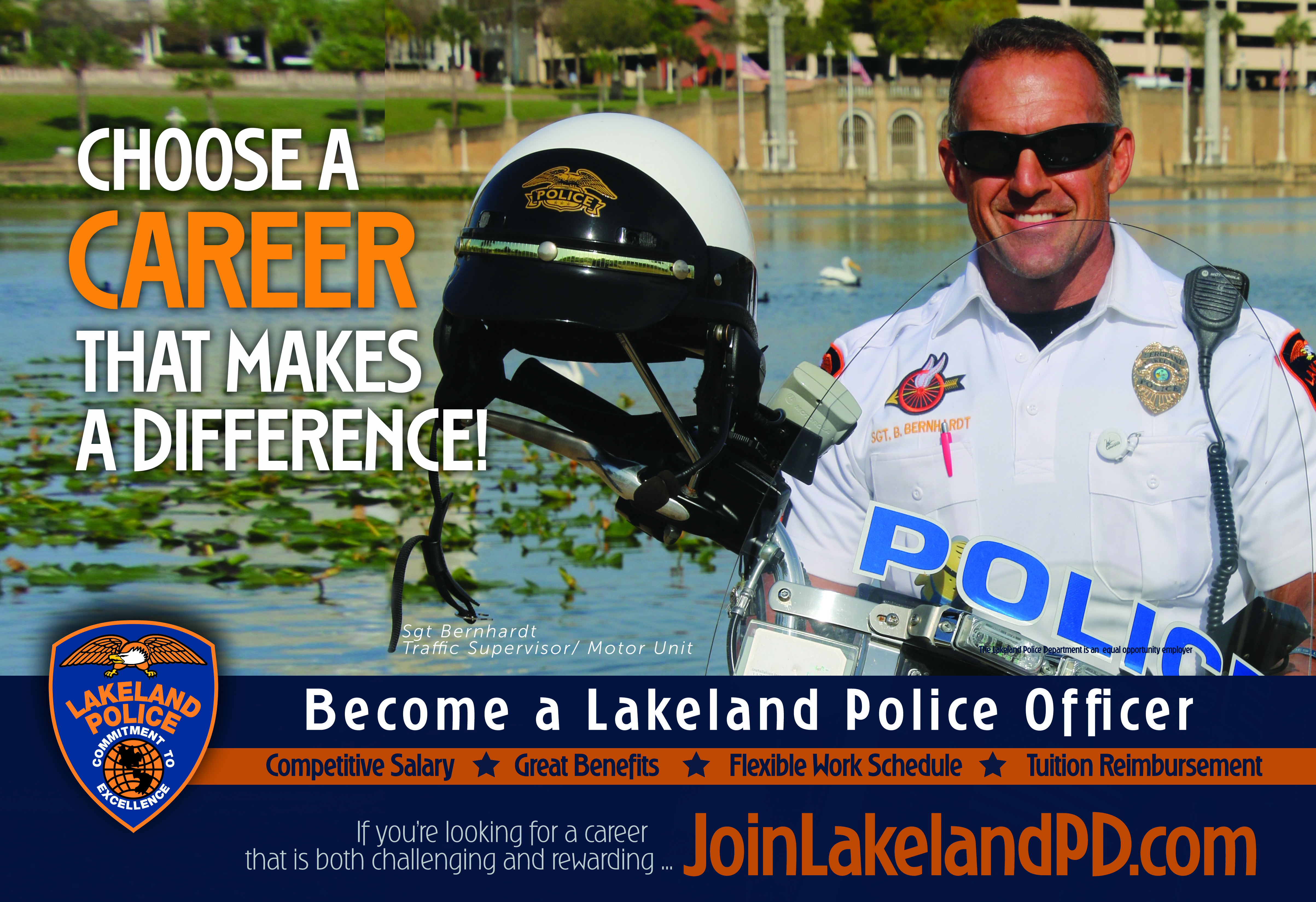 Sgt Berhardt posing on a JoinLakelaPD.com Recruiting flyer