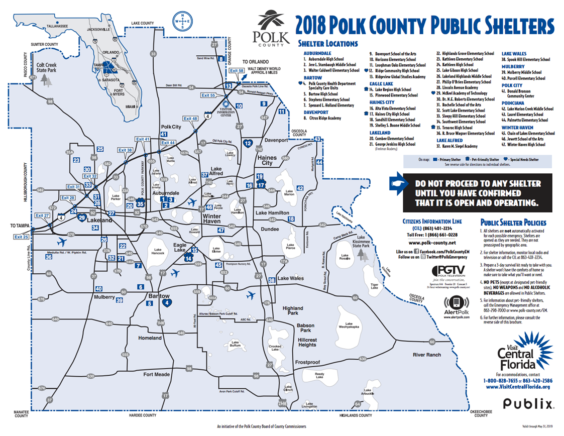 2018 Polk County Shelters Map