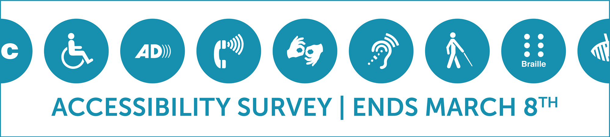 Banner with various accessibility-related icons; click to take the 2019 ADA/Accessibility Survey
