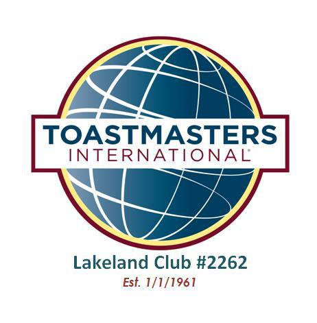 Toastmasters International globe logo with Lakeland Club #2262 Est 1/1/1963 below