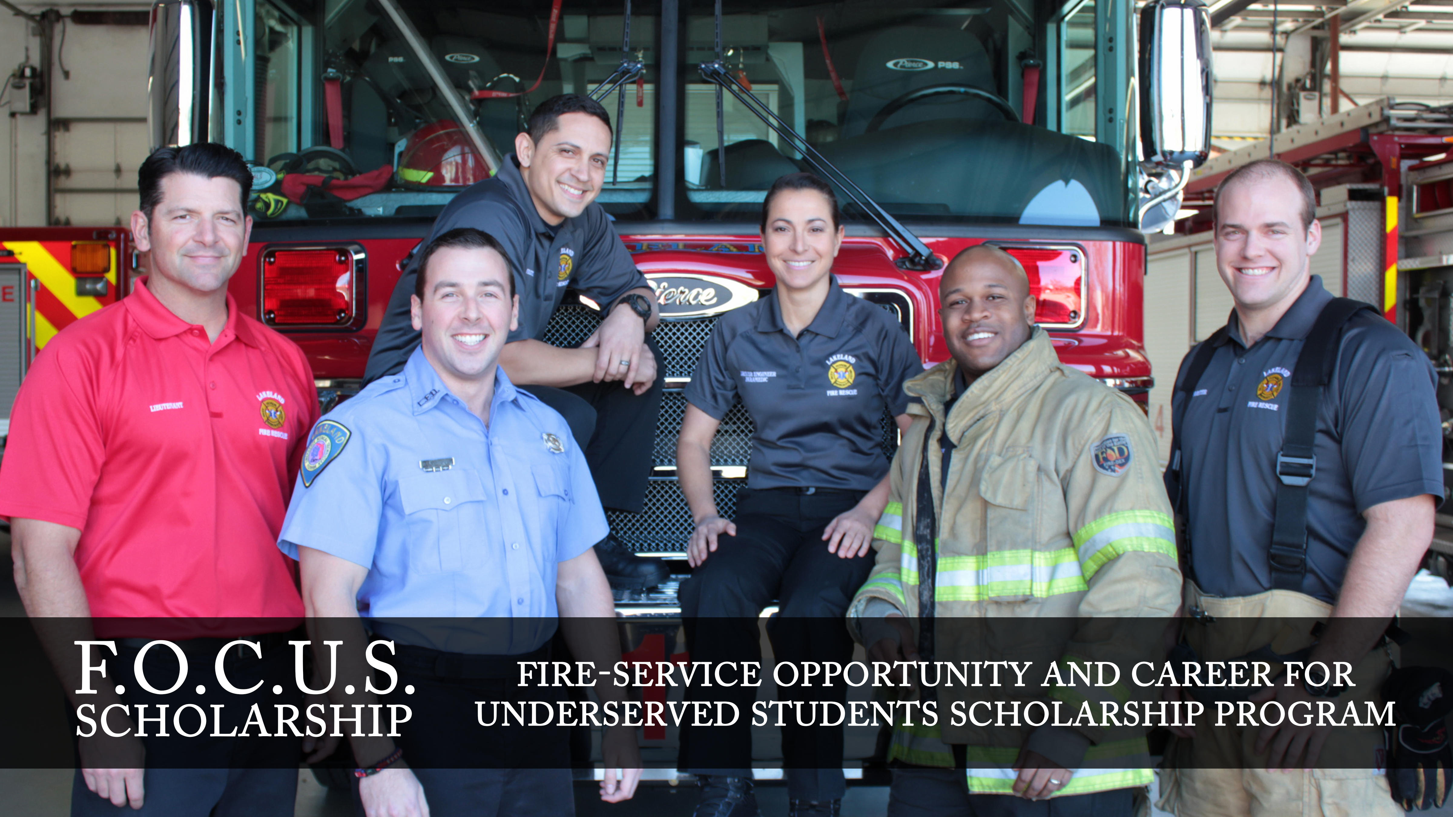 Image of diverse firefighters promoting scholarship program